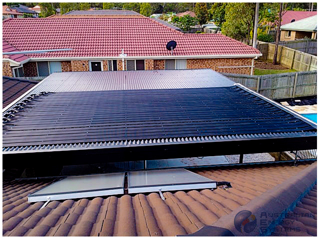 Roof covered with black Solar Pool heating System