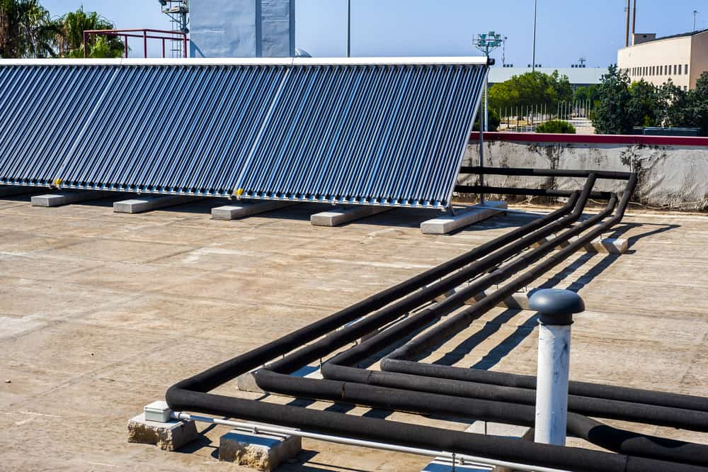 A rooftop solar water heating array