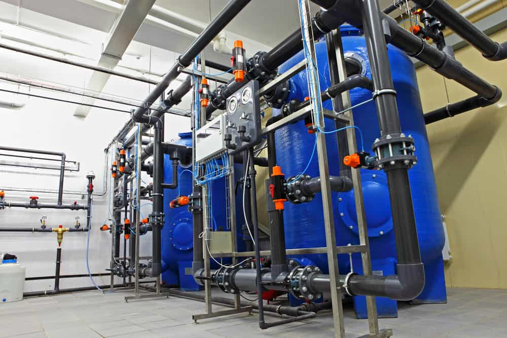 An industrial pool heating and filtration system