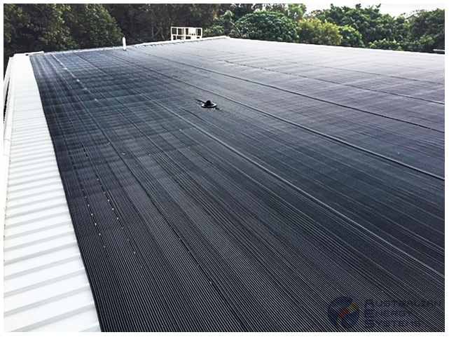 View of Commercial Solar Pool Heating at the Roof