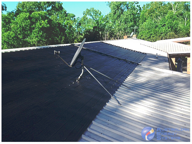 solar pool heating installation with dish